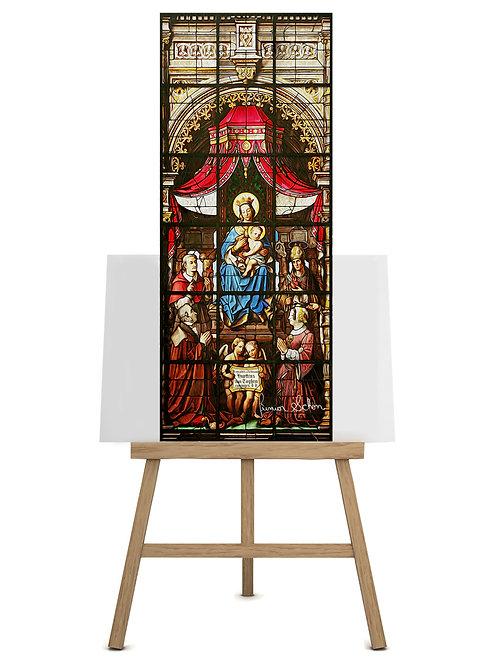 Vitral Mãe Rainha  120x50cm