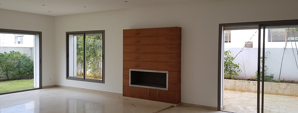 Villa rent Ain Diab living room fireplace