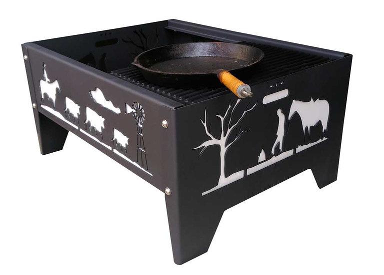 Premium rectangular fire pit with plasma cut design