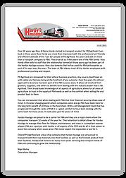 Hardys Haulage testimonial