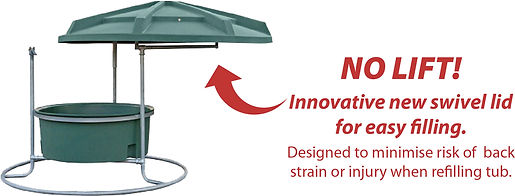 Swivel roofed feeder for easy access