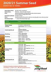 Summer Seed Price List