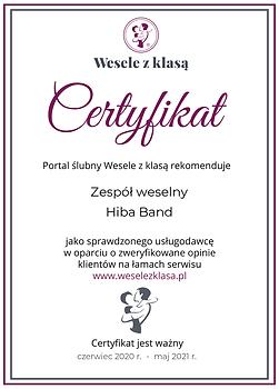 Hiba Band Zespół weselny Certyfikat spra