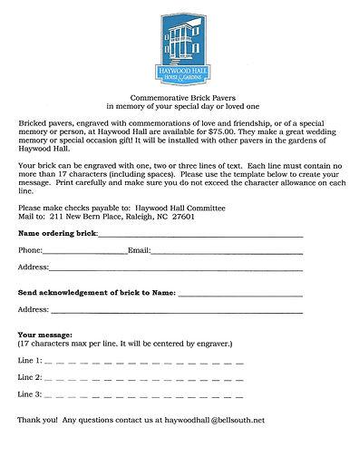 Haywood Hall Brick order form