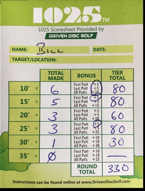1025 Disc Golf Scoresheet Sample 2