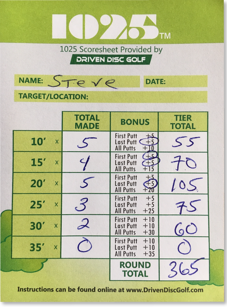 1025 Disc Golf Scoresheet Sample 3