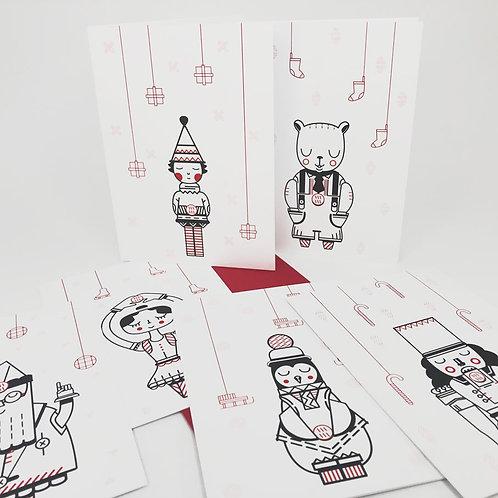 Série de 6 cartes Casse Noisette