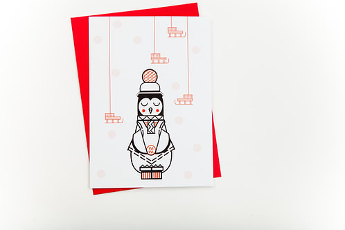 Carte de souhait Pingouin