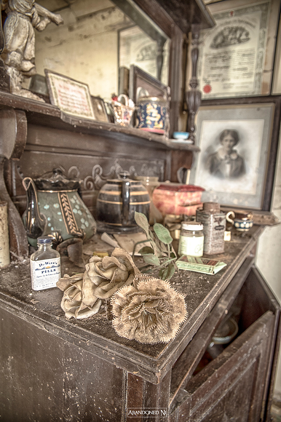A dresser unit with various antique items to include a box of Woodbine Ciggerettes