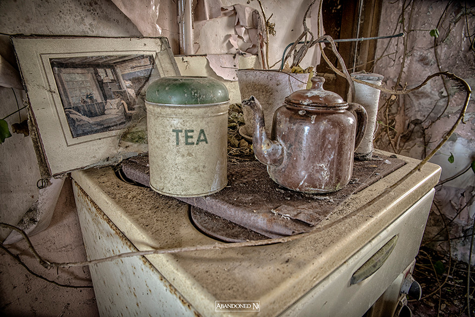 A tea tin with tea pot still sit on the stove