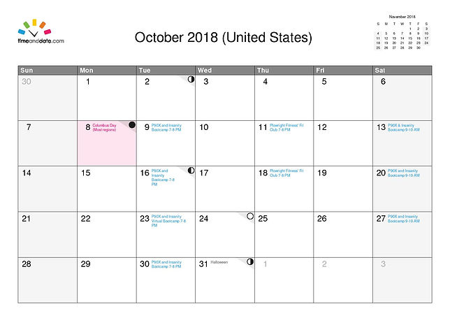 Plowright Fitness Event Calendar Oct 201