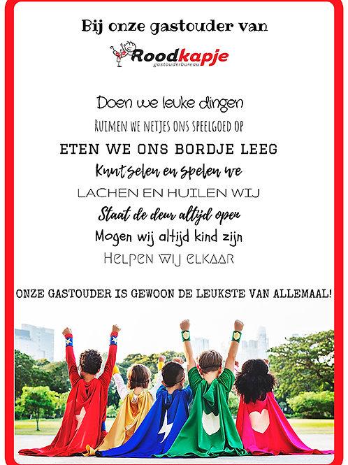 """Ingelijste poster """"Onze gastouder..."""""""