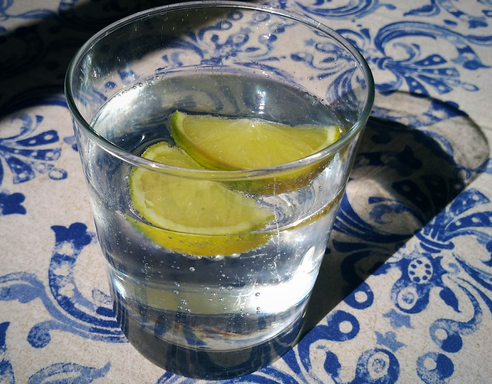 Gin and tonic with frozen limes