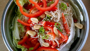 Asian Inspired Warm Black Bean and Noodle Salad