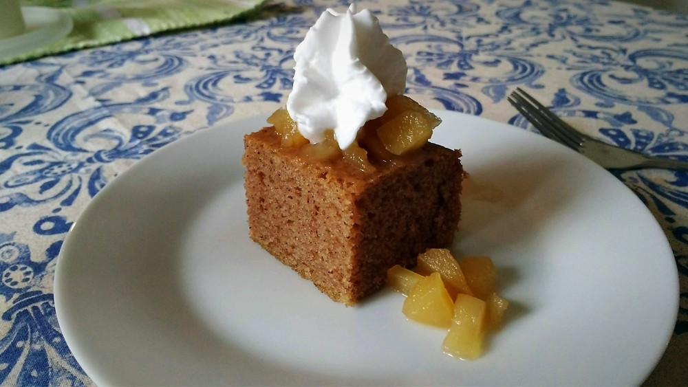 Vegan cinnamon cake maple apple compote