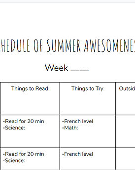 summer learning template