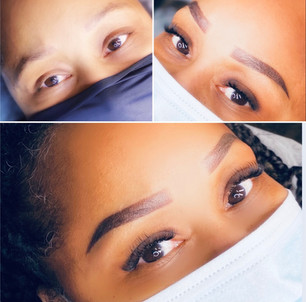 Correction powder ombre brows and lash extensions during one appointment