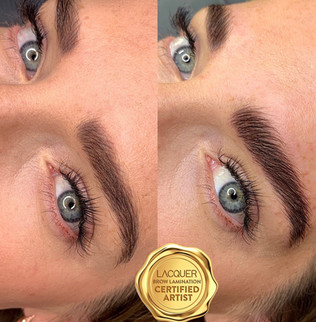Brow Lamination using Lacquer products