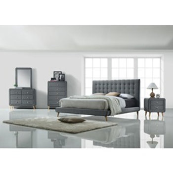 Crafted Light Grey Fabric Bedroom Set