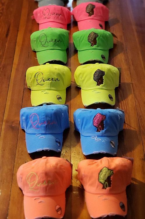Queen face hats/ font hat sets BRIGHT NEON COLORS!!