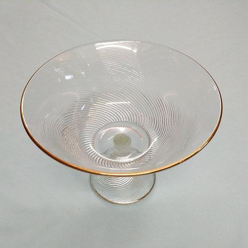 Large Pedestal Glass Dish  w| Gold Rim