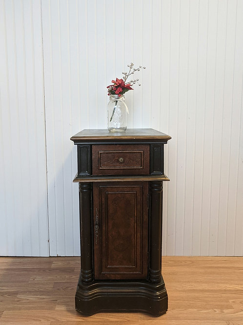 Black and Brown 1 Drawer 1 Door Night Stand