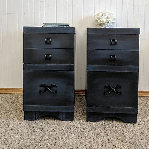 Blue and Black Painted Matching Night Stands