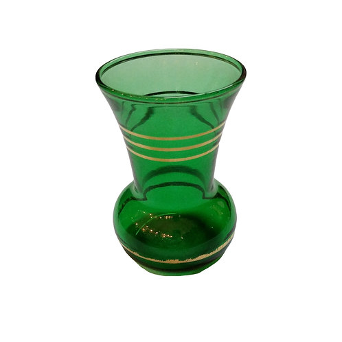 Small Vintage Green and Gold Vase
