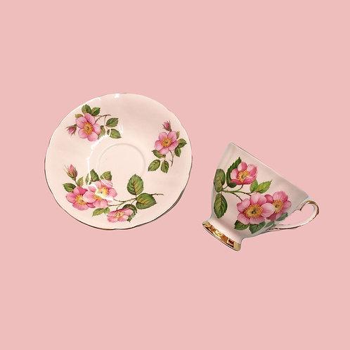 Pink Floral Tea Cup and Saucer