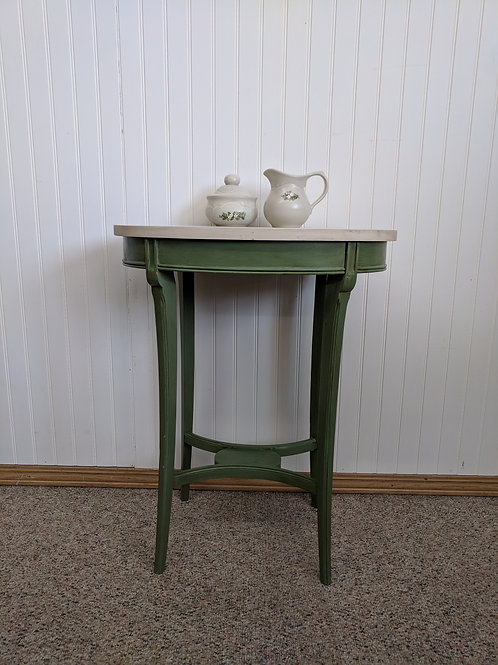 Green and White Oval End Table