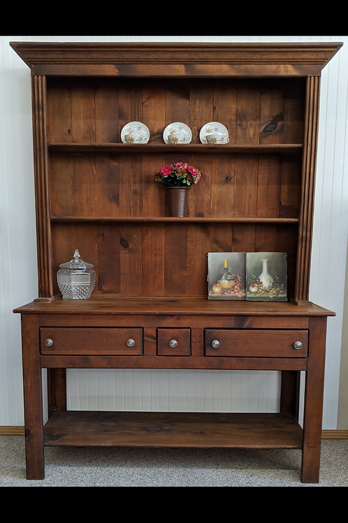 Dark Wood 2 Piece Hutch
