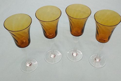 Set of 4 Amber Wine Glasses