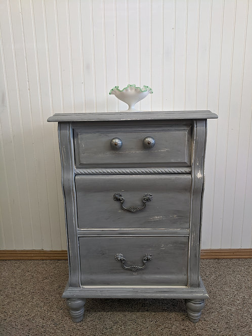 Gray Painted 3 Drawer Night Stand
