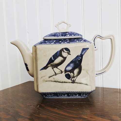 Blue Teapot w| Birds