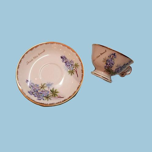 Texas Blue Bonnet Floral Tea Cup and Saucer