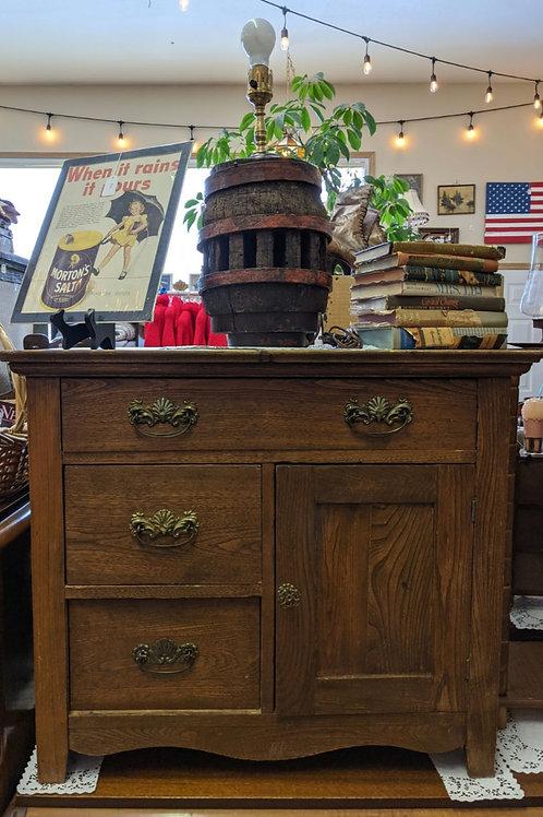 Oak Wash Stand 3 Drawer | 1 Door