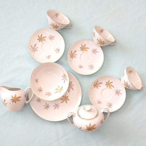 11 Piece Pink and Gold Leaf Tea Set