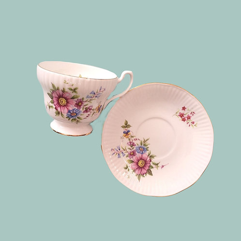 Pink Flower Tea Cup and Saucer