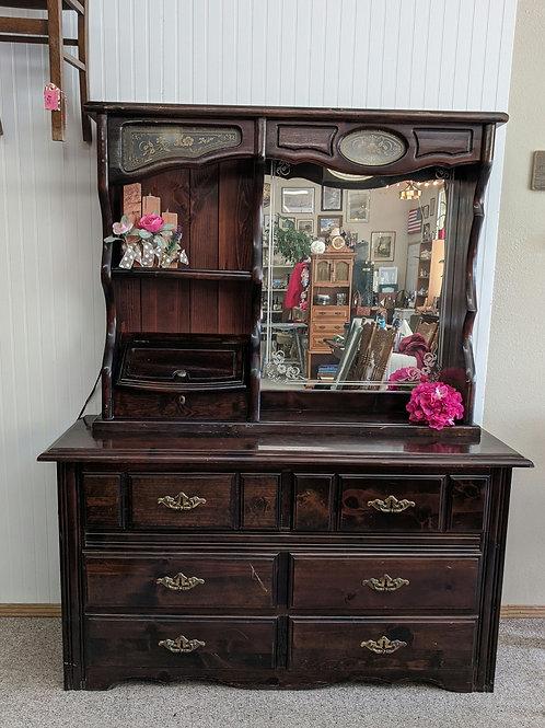Dark Brown 6 Drawer Dresser w  Mirror