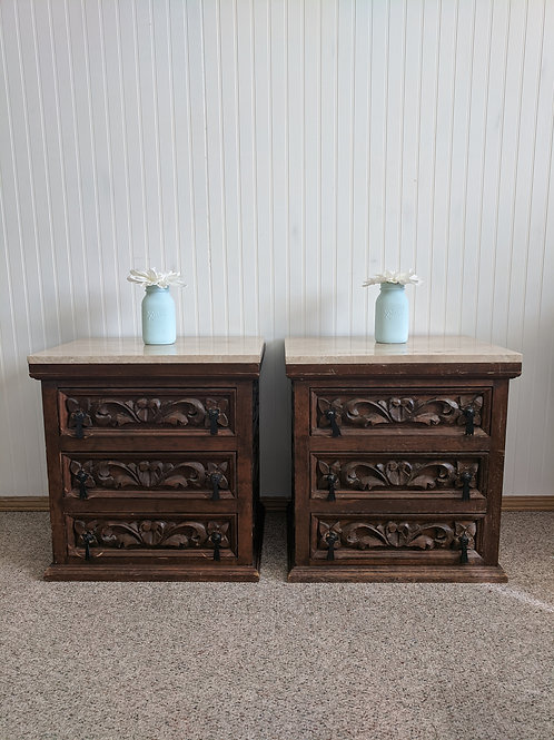 Matching Marble Top Night Stands