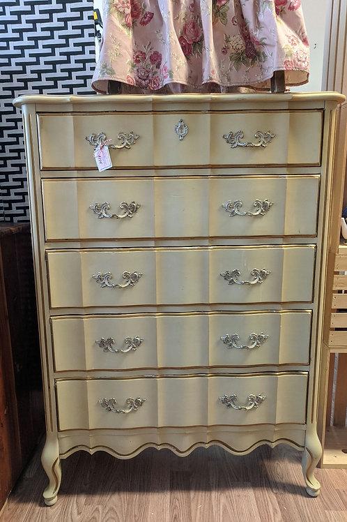 French Provincial 5 Drawer Highboy Dresser