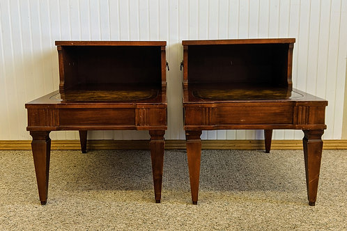 Set of 2 Leather Top End Tables