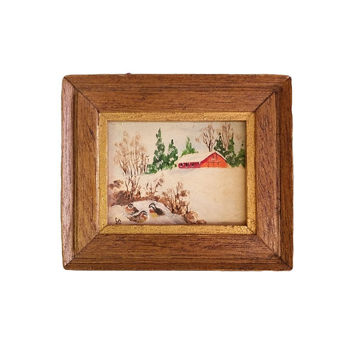 Mini Red Barn & Bird Nest Painting