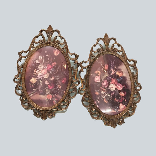 Set of 2 Oval Frame Floral Pictures