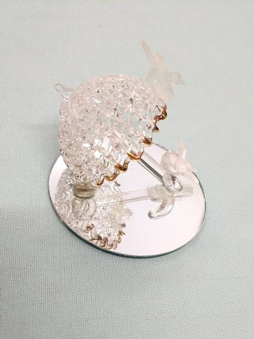 Tiny Glass Umbrella w| Gold and Birds