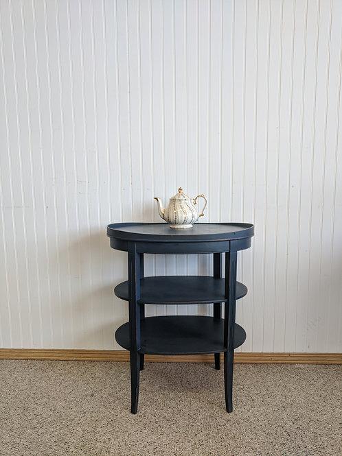 Dark Blue Oval Side Table w| Two Shelves