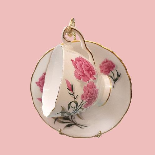 Pink Carnation Tea Cup and Saucer