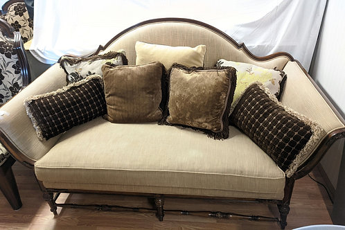 Set of 3 Brown Love Seat w| 2 Chairs