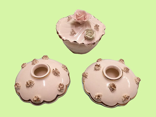 Set of 3 Candle Holders and Trinket Box