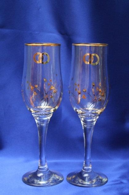 Фужеры под шампанское Позолота с кольцами